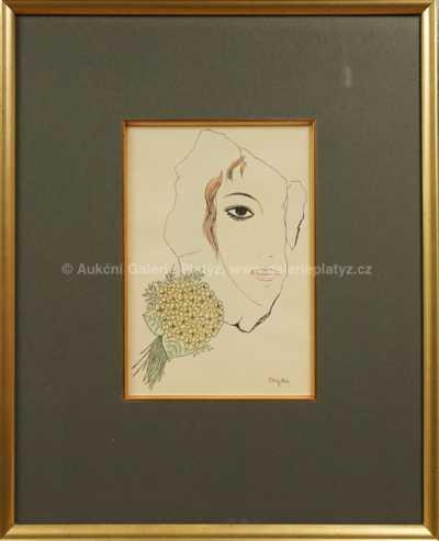 Marie Čermínová - Toyen - Dívka s květy violky