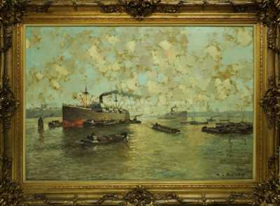Autor neurčen - Parníky v přístavu