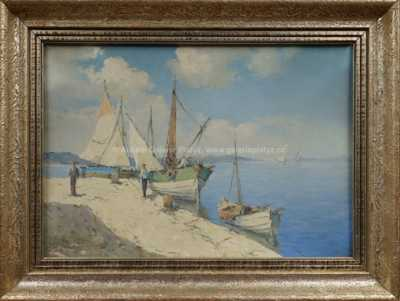 Josef  Svoboda - Rybáři u mola