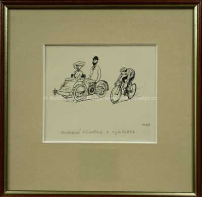 Motorová tříkolka a cyklista