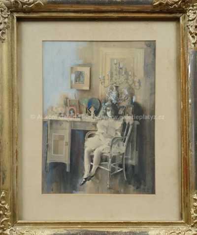 Autor neurčen - Dívka u stolu