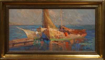 Karel Hodr - Rybářské lodě u mola