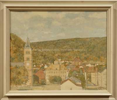 Josef  Kadeřábek - Pohled na městečko