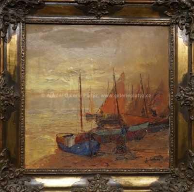 Josef  Svoboda - Rybáři při západu slunce
