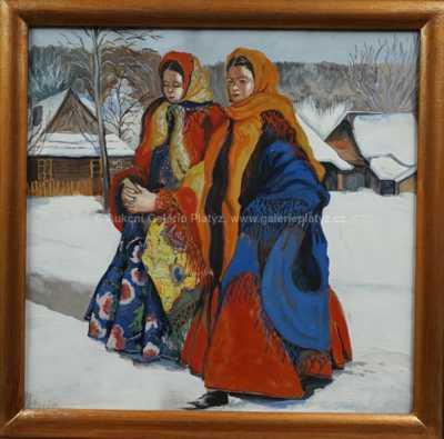 Autor neurčen - Dívky v zimě