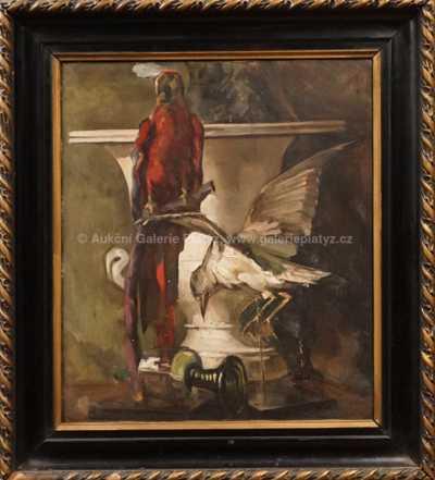 Felix Albrecht Harta - Zátiší s papouškem