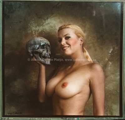 Jan Saudek - Girl With Scull