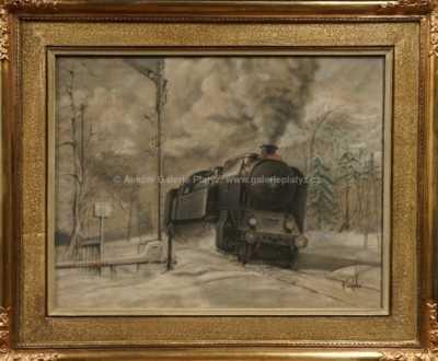 Autor neurčen - Lokomotiva v zimě