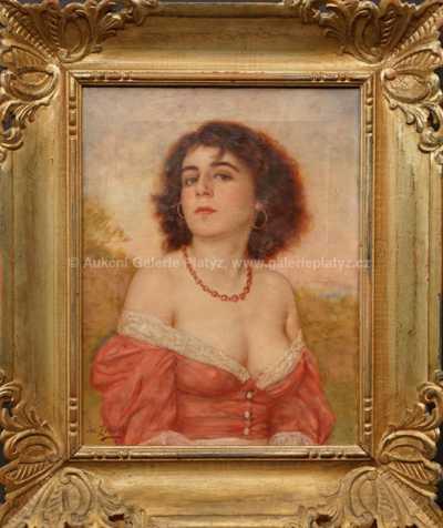 Josef Ženíšek - Dívka v červených šatech