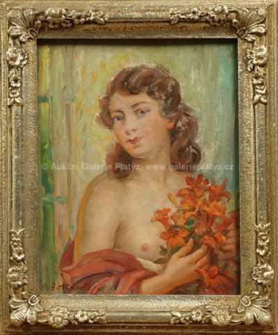 Bohumil Mareček - Dívka s květy