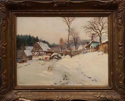 Gustav  Porš - Zasněžená vesnička