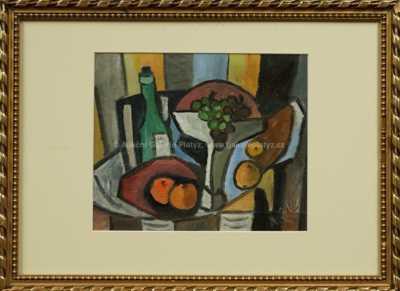 Antonín Pelc - Zátiší s hrozny a láhví vína