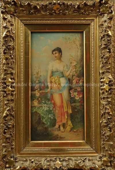 Autor neurčen - Dívka s květy