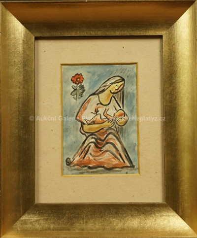 Mikuláš Galanda - Žena s dítětem a květinou