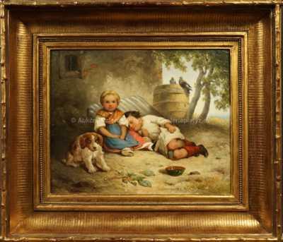 Jan  Novopacký - Děti s psíkem