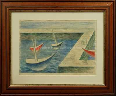 Jan  Zrzavý - Tři loďky u mola