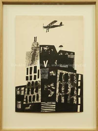 Adolf Born - Ilustrace s letadlem