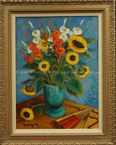 Alois Kohout - Květiny na modrém pozadí