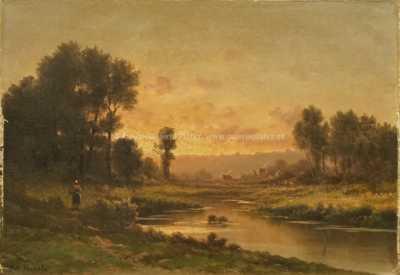 Robert T. Stuart - U řeky při západu slunce
