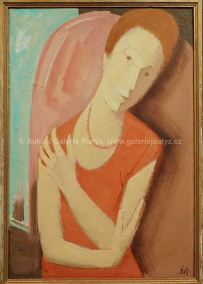 Ernest Neuschul - Žena v červených šatech