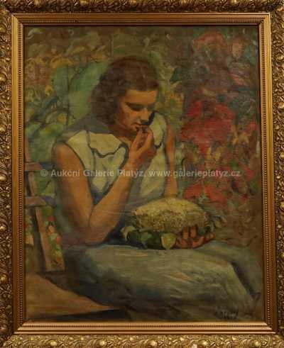 Autor neurčen - Dívka se slunečnicí