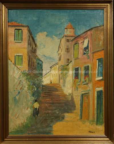 Georges Kars - Ulička ve Španělsku se schodištěm v Tossa de Mar