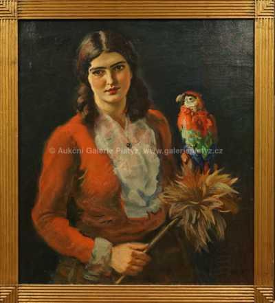 František Xaver Naske - Dívka s papouškem