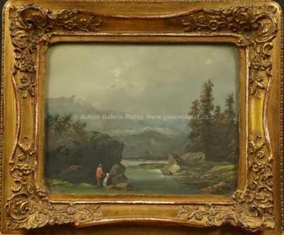 Josef Navrátil - Romantická krajina s jezerem