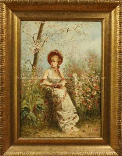 Autor neurčen - Dívka s květinami