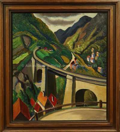 Ferdiš Duša - Horská krajina s viaduktem