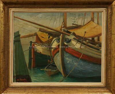 Alois Kohout - Rybářské bárky v přístavu