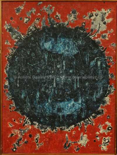 Vilém Kocych - Mordý eruptivní terč s červeným pozadím