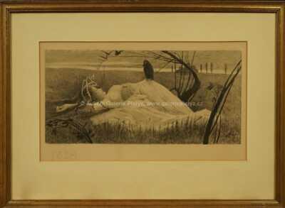 Antonín Häusler - Ležící žena s havranem