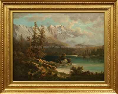 Alois Bubák - Alpská krajina s jezerem