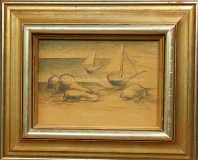 Jan  Zrzavý - Dvě loďky a čtyři balvany