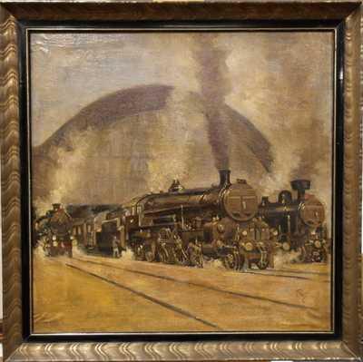 Lokomotivy před nádražím