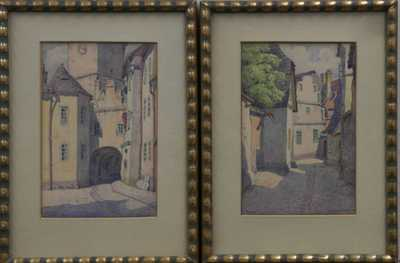 Jindřich Bubeníček - Konvolut dvou akvarelů: Tábor
