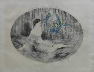 Louis Icart - Dívka s papoušky