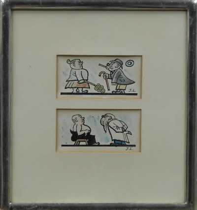 Josef Lada - Konvolut dvou barevných kreseb