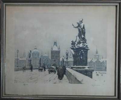 František Tavík Šimon - Karlův most v zimě