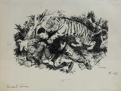 Zdeněk Burian - Útočící tygr