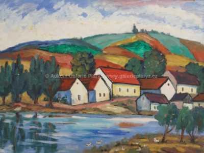 Jindřich Husník - Vesnice u řeky