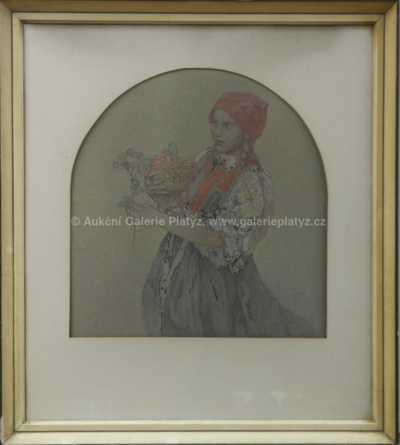 Alfons Mucha - Děvče s růží