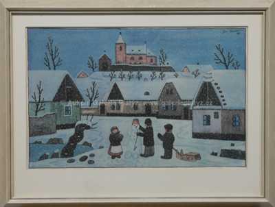 Josef Lada - Stavba sněhuláka