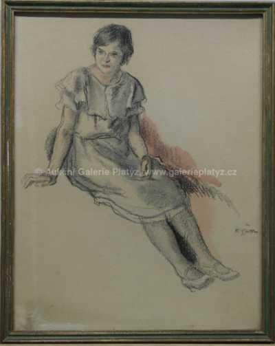 Karel Špillar - Sedící děvče