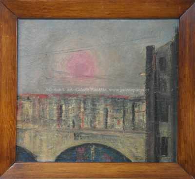 Autor neurčen - Západ slunce nad městem
