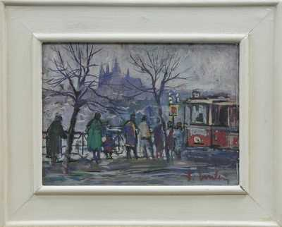 František Emler - Nábřeží s tramvají