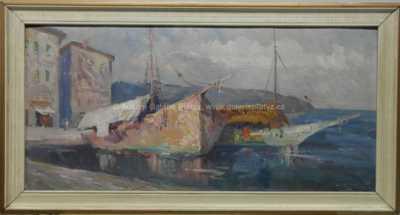Karel Hodr - Bárky v přístavu ostrov Vis