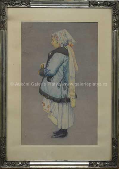 Joža Uprka - Krojovaná dívka v kožíšku