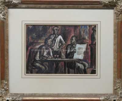 Cyril Bouda - Tři muži u vína